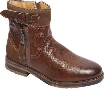 AM shoe Cognac leren boot siergesp en rits