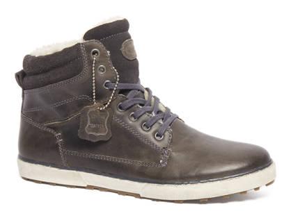 AM shoe Grijze leren halfhoge veterschoen gevoerd