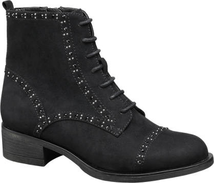 Graceland Zwarte veterboot strass