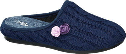 Casa mia Blauwe pantoffel bloemetjes