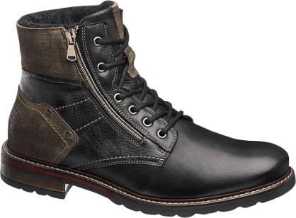 AM shoe Premium - Zwarte veterleren boot gevoerd