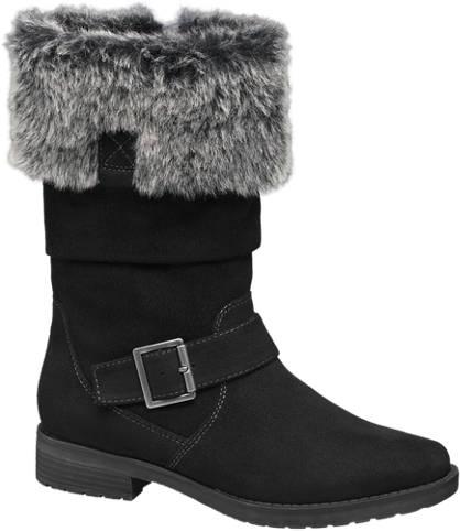 Graceland Fur & Buckle Detail Boot (Sizes 39-41)