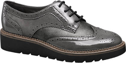 Graceland Grijze veterschoen brogue look