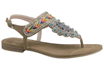 Graceland Bruine sandaal sier kraaltjes
