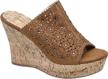 Graceland Bruine sandalette perforatie
