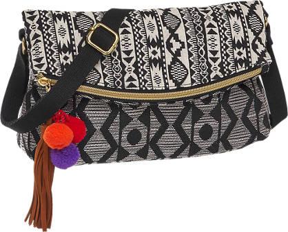 Graceland Zwarte handtas aztec print