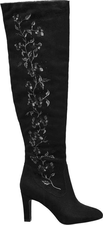 Graceland Zwarte overknee laars bloemen