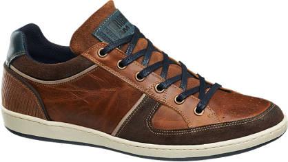AM shoe Bruine leren sneaker suède details