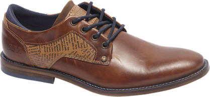 AM shoe Premium - Cognac leren veterschoen krantprint