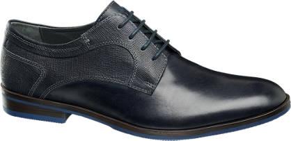 AM shoe Zwarte leren veterschoen croco print