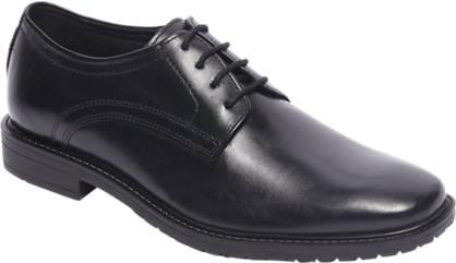 Agaxy Zwarte leren geklede jongensschoen
