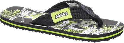 Agaxy Zwarte teenslipper