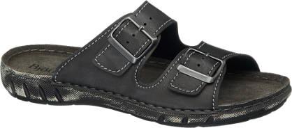 Björndal Zwarte slipper leren voetbed