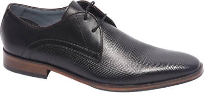 Borelli Premium - Zwarte leren geklede veterschoen