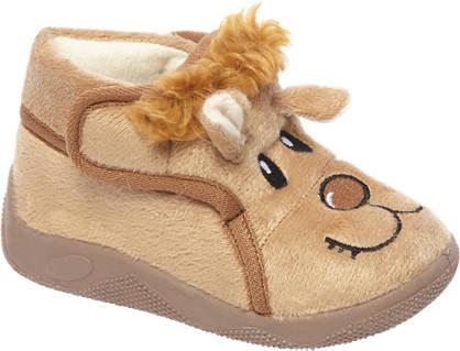 Casa mia Bruine pantoffel klittenband