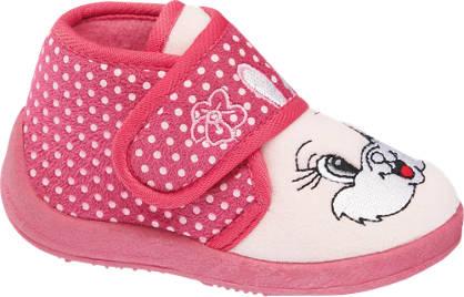 Casa mia Roze pantoffel klittenband