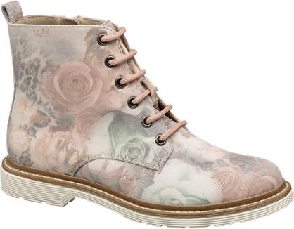 Catwalk Floral Lace-up Ankle Boots