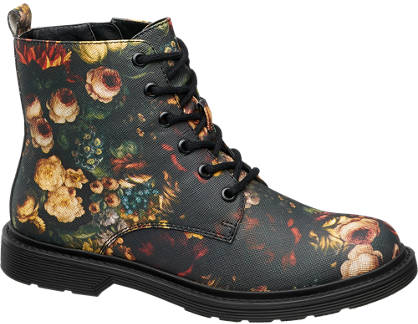 Catwalk Floral Lace-up Ankle Boots