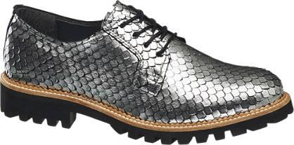 Catwalk Ezüst színű hüllőmintás bokacipő
