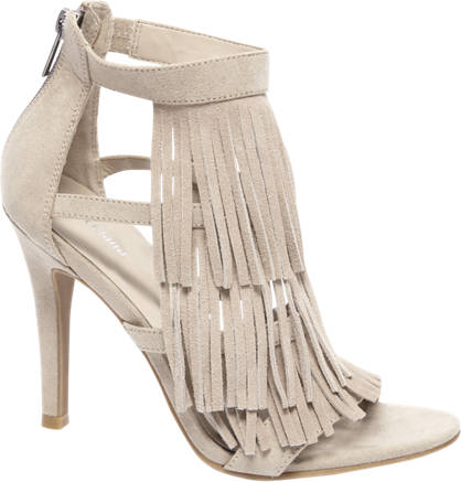 Graceland Beige sandalette franjes