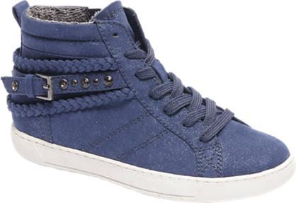 Graceland Blauwe halfhoge sneaker glitter