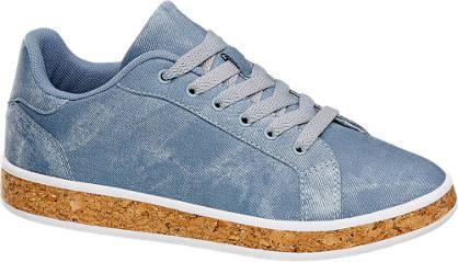 Graceland Blauwe sneaker kurkzool