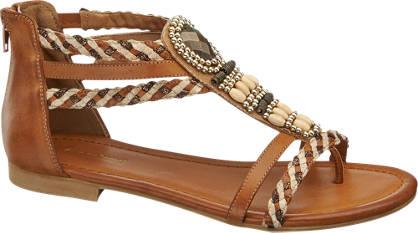 Graceland Bruine sandaal gevlochten bandjes