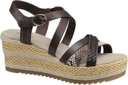 Graceland Bruine sandaal plateauzool