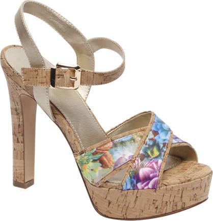 Graceland Bruine sandalette bloemenprint