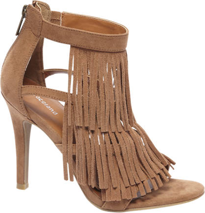 Graceland Bruine sandalette franjes