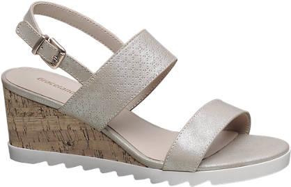 Graceland Champagne kleurige sandaal sleehak