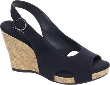 Graceland Donkerblauwe sandaal sleehak