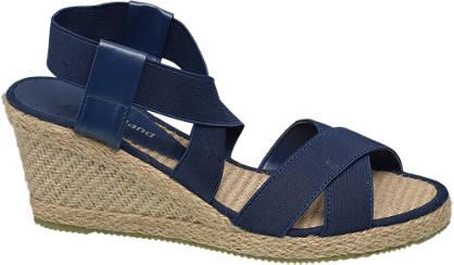 Graceland Donkerblauwe sandalette espadrille sleehak
