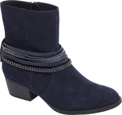 Graceland Donkerblauwe western enkellaars