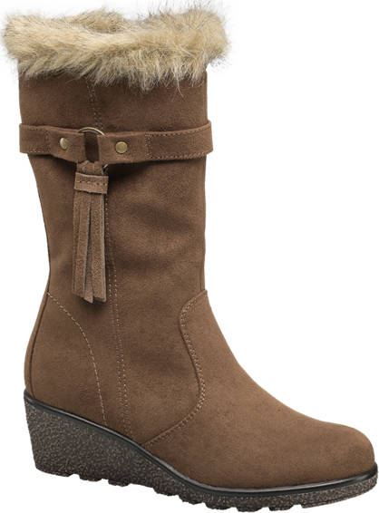 Graceland Fur Wedge Boot