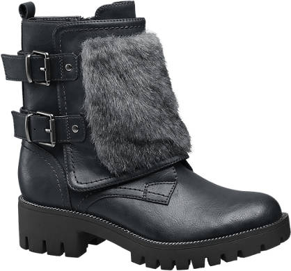 Catwalk Chunky Fur Trim Ankle Boots