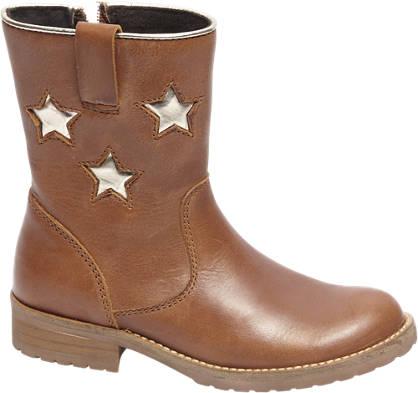 Graceland Premium - Bruine leren enkellaars gouden sterren