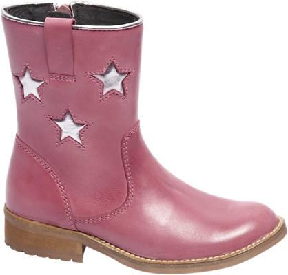 Graceland Premium - Roze leren enkellaars zilveren sterren