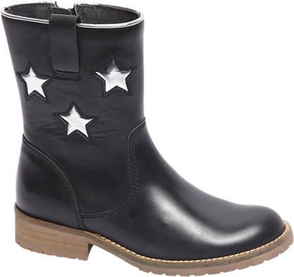 Graceland Premium - Zwarte leren enkellaars zilveren sterren