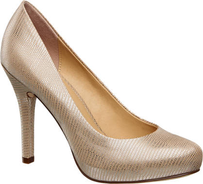Graceland Pump met zilveren crocoprint