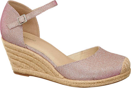 Graceland Roze sandaal espadrille sleehak