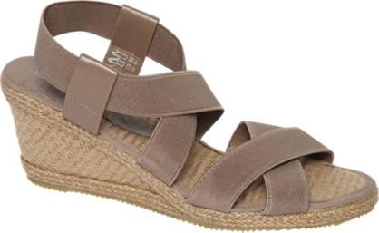 Graceland Taupekleurige sandaal espadrille sleehak