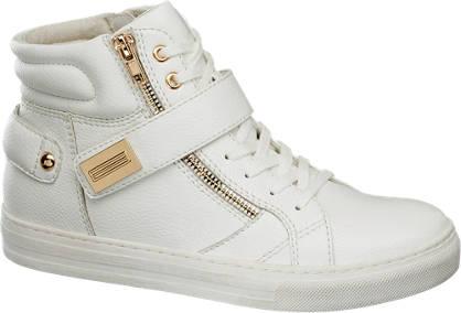Graceland Witte halfhoge sneaker gouden details
