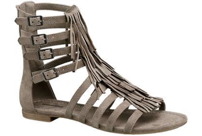 Graceland Zandkleurige sandaal franjes