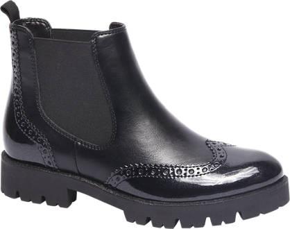 Graceland Zwarte chelsea boot brogue look