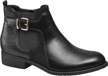 Graceland Zwarte chelsea boot croco print