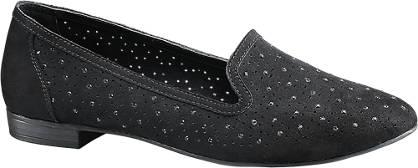 Graceland Zwarte loafer perforatie