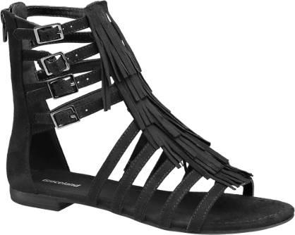 Graceland Zwarte sandaal franjes
