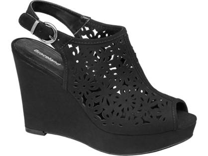 Graceland Zwarte sandaal sleehak