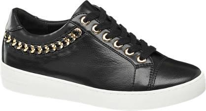 Graceland Zwarte sneaker gouden details